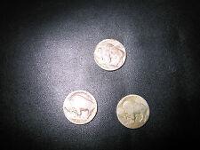 Vintage Buffalo Nickels (3) No Date Visible