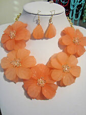 Peach Acrylic Flower Floral Clear Faceted Glass Bead Necklace earring Set