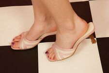 90s vintage baby pink & white square nose slip on mules size 6 River Island