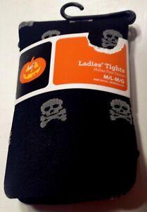 Womens Tights Skull Crossbones Goth Halloween Size M/L