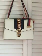 Authentic Gucci Sylvie Handbag Small Shoulder Bag Off-White Leather