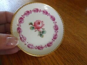 Richard Ginori 5 Butter Pats Tea plate Trinket Gold Gilt Pittoria Rose Center
