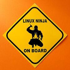 Linux Ninja On Board   Computer tech geek computer or bumper sticker.