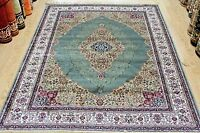 Traditional Persian Design Green Silk LIKE  Machin Washable Rug Now 25% OFF RRP