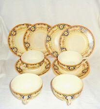 "Antique Crown Ducal ""Danube"" / Rare Set of 4 Cups, 4 saucers & 4 Dessert Plates"