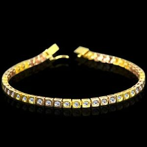 Christmas Gift Natural Diamond Tennis Bracelet 18k Yellow & Rose Gold Jewelry