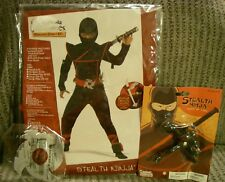 NEW Black Stealth Ninja Costume Child Large Plus 10- 12 California X-Large 00228