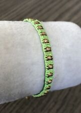 New Auth Chan Luu Gold Indian Lime Green Bead Pull Tie Bracelet