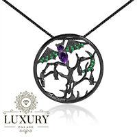 Natural Amethyst Gemstone 925 Sterling Silver Handmade Bat Pendant Necklace