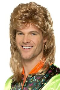 Smiffys Mens Mullet Wig 70s Retro Costume Hair Brown with Blonde Highlights