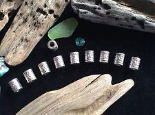 Bracelet Beads 10x Silver 3.8mm Small Hole Elven Viking Celtic Beard Braid Beads