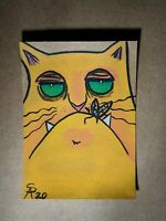 Original OOAK Painting ACEO ATC 2.5 x 3.5 Signed Orange Cat with Bug in Mouth