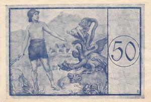 50 PFENNIG EF+ EMERGENCY ISSUED NOTE FROM GERMANY/FÜSSEN 1918
