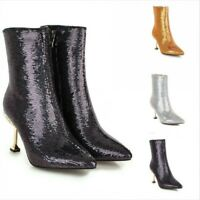 Women's Pointy Toe Stilettos High Heels Shoes Sequins Ankle Boots Glitter Party