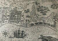 """De Bry """"Francis Drake attacks Cartagena"""" - 1599 - Colombia - Original Engraving"""