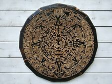 "Handmade Aztec Mayan Calendar Plaque 17"" Tall Ancient Wall Decor Wood"