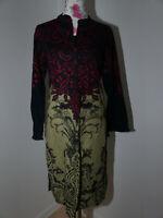 Neues Limelight Damen Kleid Gr M Oliv/Schwarz Langarm Vintage Blumenmuster