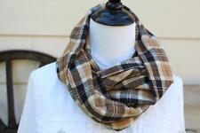 Plaid Flannel Infinity Scarf Men or Women Brown Tan Plaid Thick 2 Layers