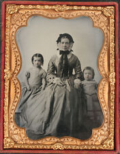 AMBROTYPE SAD WIDOW AND YOUNG CHILDREN, TINTED RUBY GLASS. 1/4 PLATE, FULL CASE.