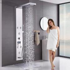 Níquel cepillado panel de la ducha cuerpo del sistema de torre de Lluvia Cascada masaje jet