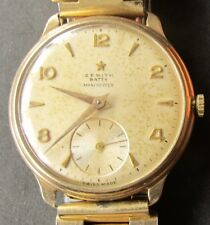 "11-Vintage Swiss Solid Gold ZENITH ""BATTY"" Manchester, Sub-sec Gents Orologio."