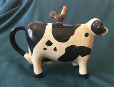 Ceramic Cow & Chicken Tea Pot Elizabeth King Brownd Design Country Farm Kitchen