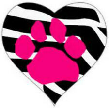 20 water slide nail art transfer pink paw print in a heart 5/8 inch trending