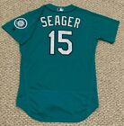 SEAGER size 46 #15 2018 Seattle Mariners game used jersey issued home TEAL MLB