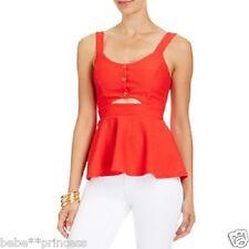 NWT bebe red cutout waist straps peplum ruffle sexy textured party top M medium