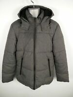 MENS ACW85 GREY MIX ZIP UP PADDED WINTER HOODED PUFFER COAT JACKET SIZE M MEDIUM