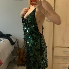 Emerald Green Sequin Plunging Motel Dress, Size M