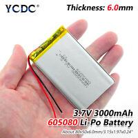3.7V 3000mAh Li-Po Rechargeable Battery 605080 For MP4 MP5 GPS Tablet DVD 465C