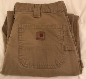 Carhartt B151 DKH Men's Work Dungaree Pants 35x32, Meas SZ 34x31.5 Drk Khaki