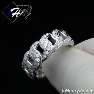 MEN WOMEN 925 STERLING SILVER FULL ICY DIAMOND BLING CUBAN CURB LINK RING*SR128