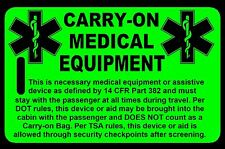Hi-Viz Green Carry-On Medical Equipment  Bag Tag - TSA - CPAP BiPAP APNEA POC