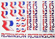 Officially licensed Robinson Pro and Regular BMX decal set 1980-83 on WHITE