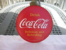"Coca Cola Button Logo Tin Sign Coke Round 11 3/4"" By Desperate Enterprises Inc."