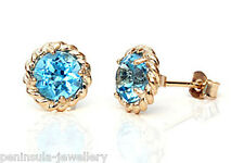 9ct Gold Swiss Blue Topaz Stud earrings Gift boxed studs