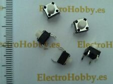 10x Pulsador Blanco 6x6x6 mm PCB, Switch, mini, Push touch, micro, 4 pin arduino