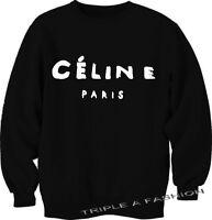 Celine Paris Swag Hype  Style BLACK Crew Neck long sleeve SWEATSHIRT