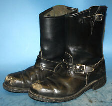 MENS BLACK LEATHER BIKER/MOTORCYCLE/RIDING/BUCKLE/PUNK ROCK BOOTS sz 10.5