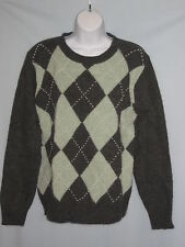 Saks Fifth Avenue Argyle Sweater Lambs Wool/Angora Beads NWT Sz Medium #CL136