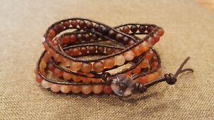 Beaded Leather Wrap Bracelet with Agate stones color gradient 4 Wrap Bracelet