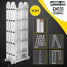 195ft Multi Purpose Aluminum Telescopic Ladder Heavy Duty Folding Extension