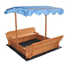Outdoor Kids Sandbox with Canopy and Two Bench Seats Can Place Sea Ball