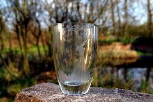 antikes Jugendstil Trinkglas handgeschliffen Kristallglas Blockglas Pokal