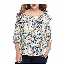 Nordstrom Womens Top 1X Plus Size Floral Peasant Ruffled Boatneck Made in USA