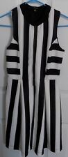 MONTEAU cute Sleeveless DRESS - BLACK & WHITE Stripe - Womens sz M - NEW