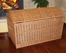 WICKER CHEST STORAGE Trunk Solution Willow Box Toy Blanket Linen Pirate 100 cm