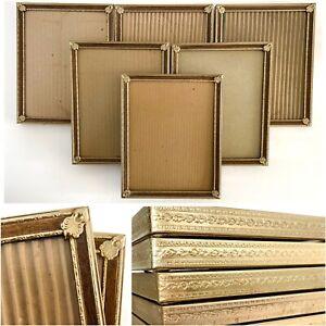 Vtg 8x10 Metal Photo Picture Frames Ornate Brass Gold Tone Woodgrain Glass Lot 6
